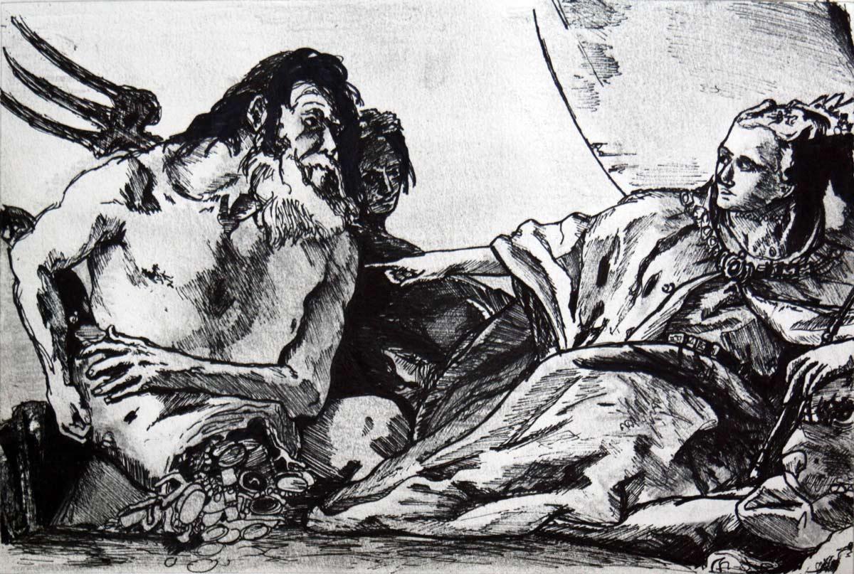 """Croquis de """"Venise reçoit l'hommage de Neptune"""" (1570) TIEPOLO, au Palais des Doges de Venise - L'Oeil d'Édouard © Tous droits réservés"""