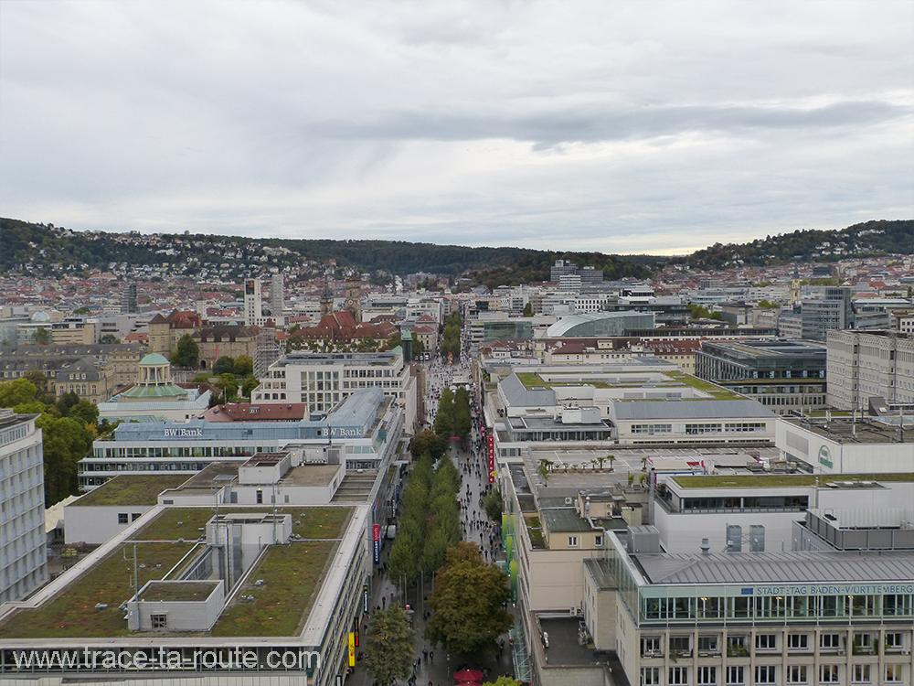 Koenigstrasse vue de la gare Stuttgart - Allemagne Deutschland Germany