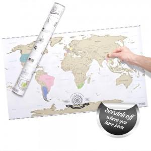 cadeau saint valentin voyage carte du monde à gratter