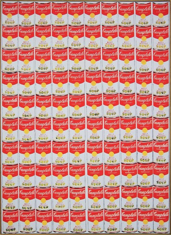 """""""100 Campbell's soup cans"""" (1962) Andy WARHOL, Musée d'Art Moderne de Francfort"""