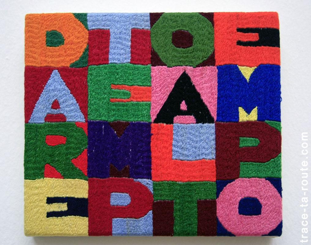 """Dare tempo al tempo"" (1986) ALIGHIERO BOETTI, Musée d'Art Moderne de Francfort"