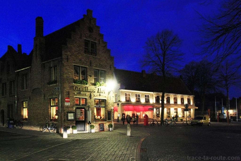 Place Guido Gedelleplein de Bruges de nuit