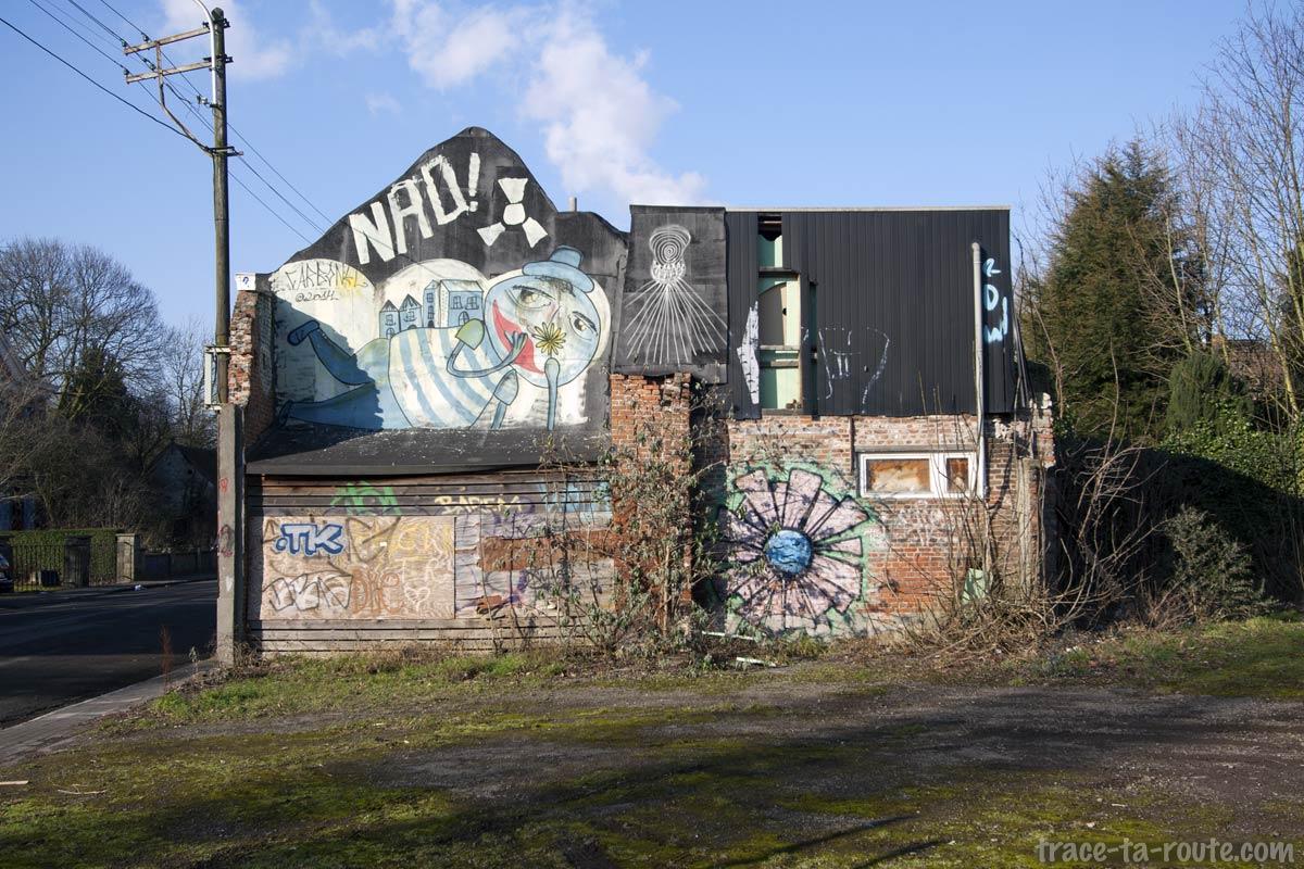 Graffitis sur la façade d'une maison abandonnée de Doel