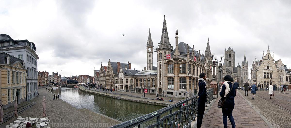Les quais de la Lys à Gand, Belgique - Gent Belgium