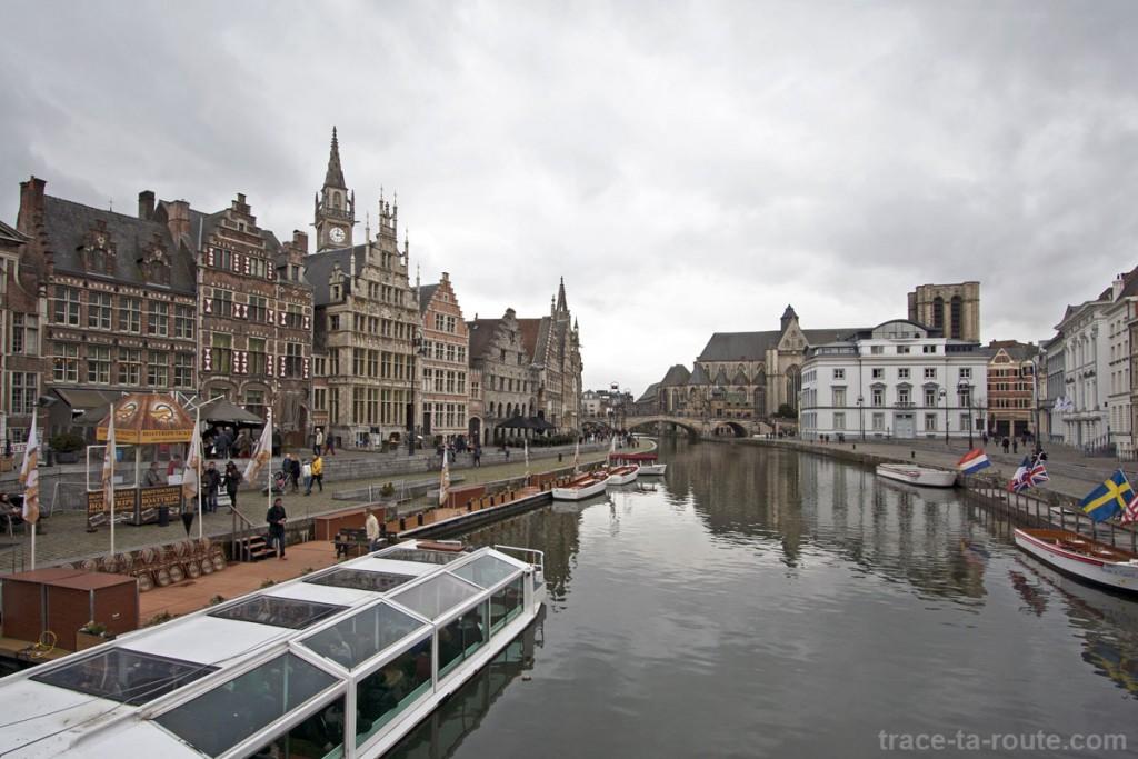La Lys et le quai Graslei à Gand, Belgique - Gent Belgium
