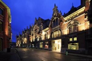 Rue Baudelostraat à Gand, de nuit, Belgique - Gent Belgium