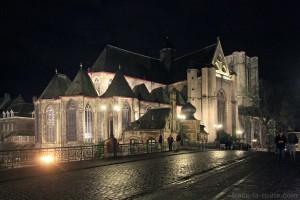 Église Saint-Michel de nuit à Gand, Belgique - Gent Belgium