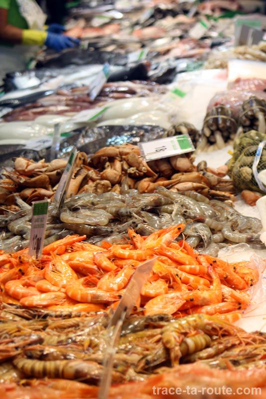 Poissonnerie à la Boqueria, marché de Barcelone