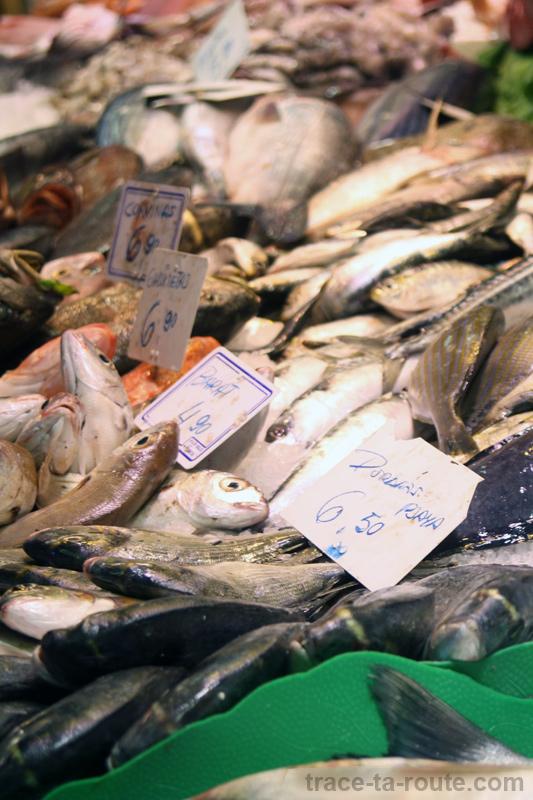 Étal de poissons à la Boqueria, marché de Barcelone