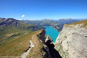 Lac de Roselend depuis la via ferrata du Roc du Vent