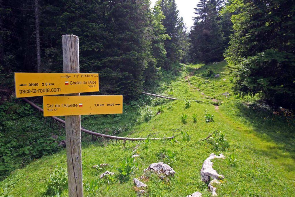 Panneau itinéraire pour la randonnée au sommet du Pinet
