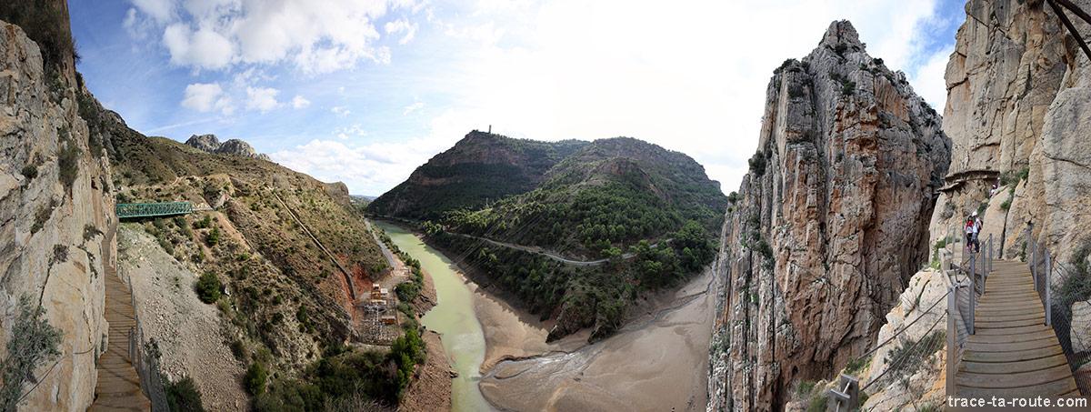 vue sur l' Embalse Tajo de la Encantada depuis le Caminito del Rey - El Chorro, Malaga, Andalousie, Espagne