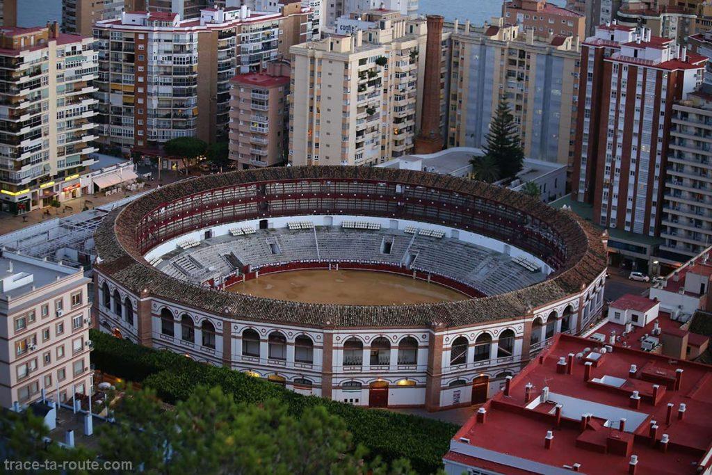 Vue sur les Arènes de Malaga depuis le Mirador de Gibralfaro