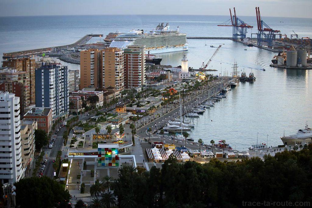 MuelleUno, Port de Malaga vue depuis le Mirador de Gibralfaro