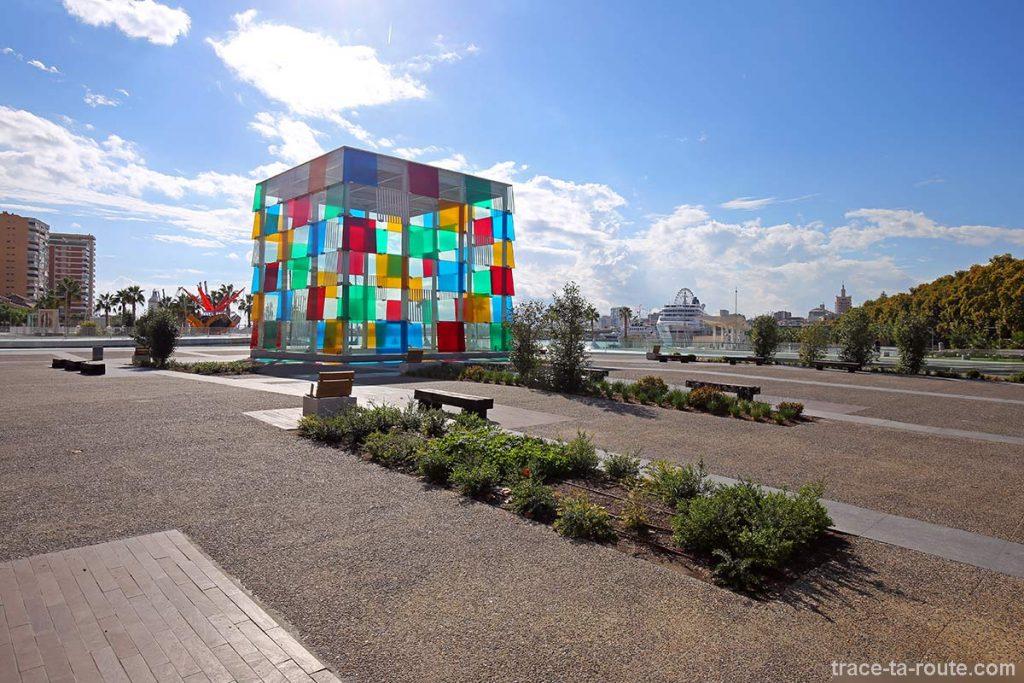 """El Cubo"" (2015) Daniel BUREN - Centre Pompidou Malaga, Port MuelleUno"