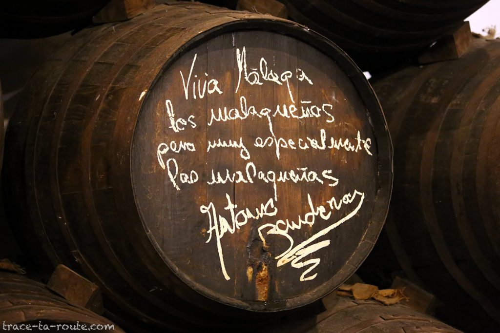 Un des tonneaux dédicacés (Antonio Banderas) au bar à tapas restaurant bodega El Pimpi, Malaga