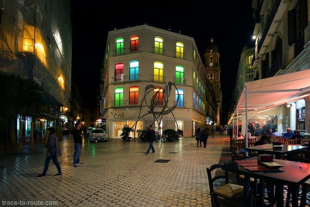 Plaza del Siglo, Calle Molina Lario, Calle Duque de la Victoria Malaga Andalousie Espagne Sunset Spain Andalucia Espana night