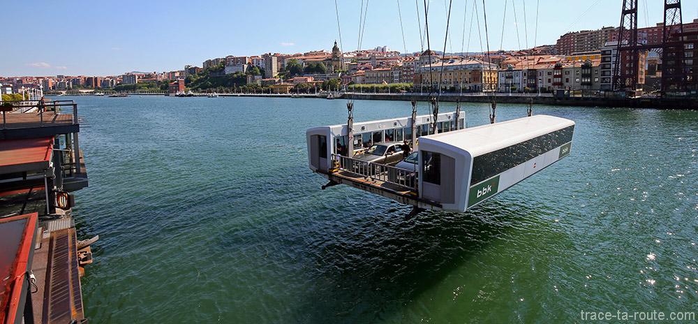 Traversée de la nacelle du Pont de Biscaye (Puente Vizcaya / Puente Colgante Bizkaia) au-dessus de la Ria del Nervion - Portugalete / Getxo, Bilbao, Pays Basque