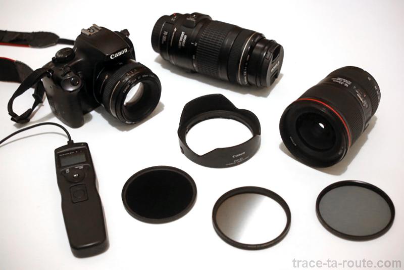 Matériel Photographie : boitier reflex, objectifs, filtres, pare-soleil, télécommande...