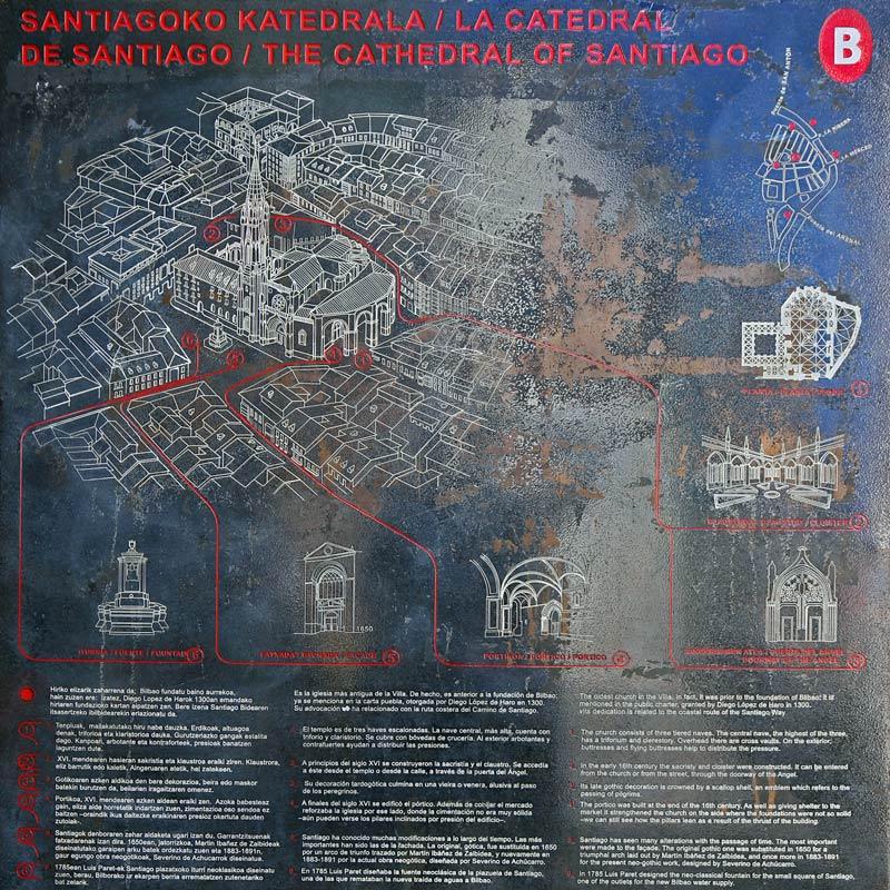 Plan de la Cathédrale de Santiago de Bilbao dans Casco Viejo