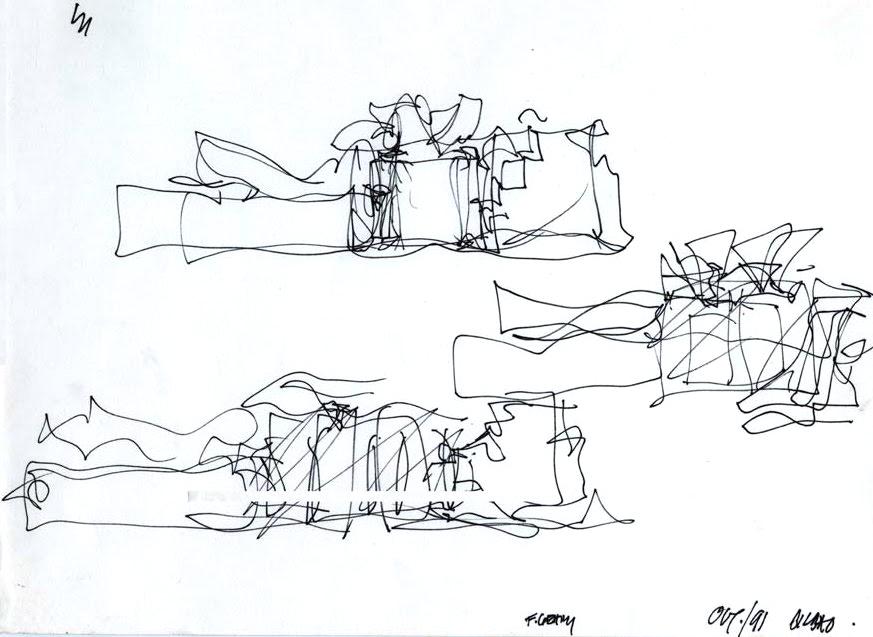 Croquis automatiques préparatoires du Musée Guggenheim Bilbao (1991) Franck O. Gehry