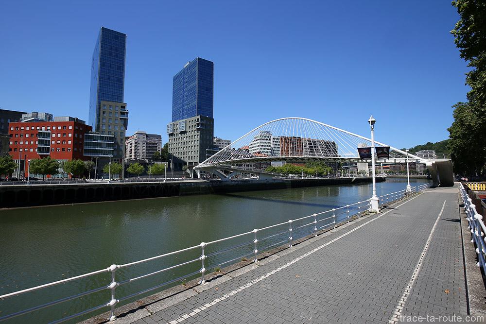 Les Tours Isozaki Atea et le Pont Zubizuri (Santiago Calatrava) sur le fleuve Nervion de Bilbao