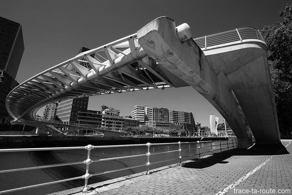 Pont Zubizuri (Santiago Calatrava) sur le fleuve Nervion de Bilbao