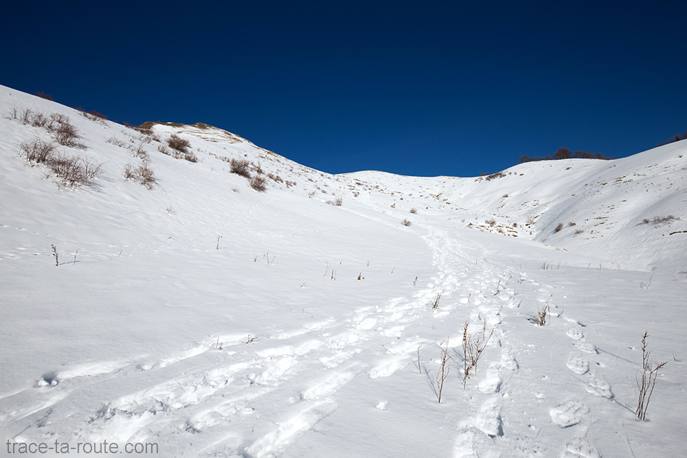 Combe Sud de la Pointe de la Galoppaz - Bauges - sentier de randonnée raquettes neige