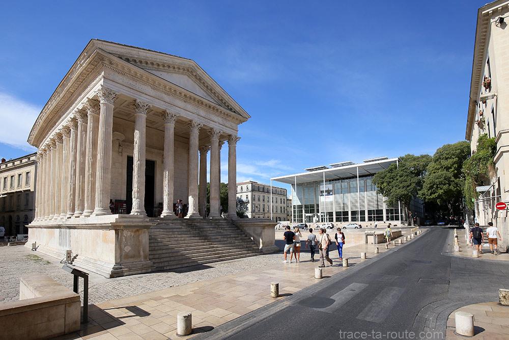 La Maison Carrée et le Carré d'Art de Nîmes
