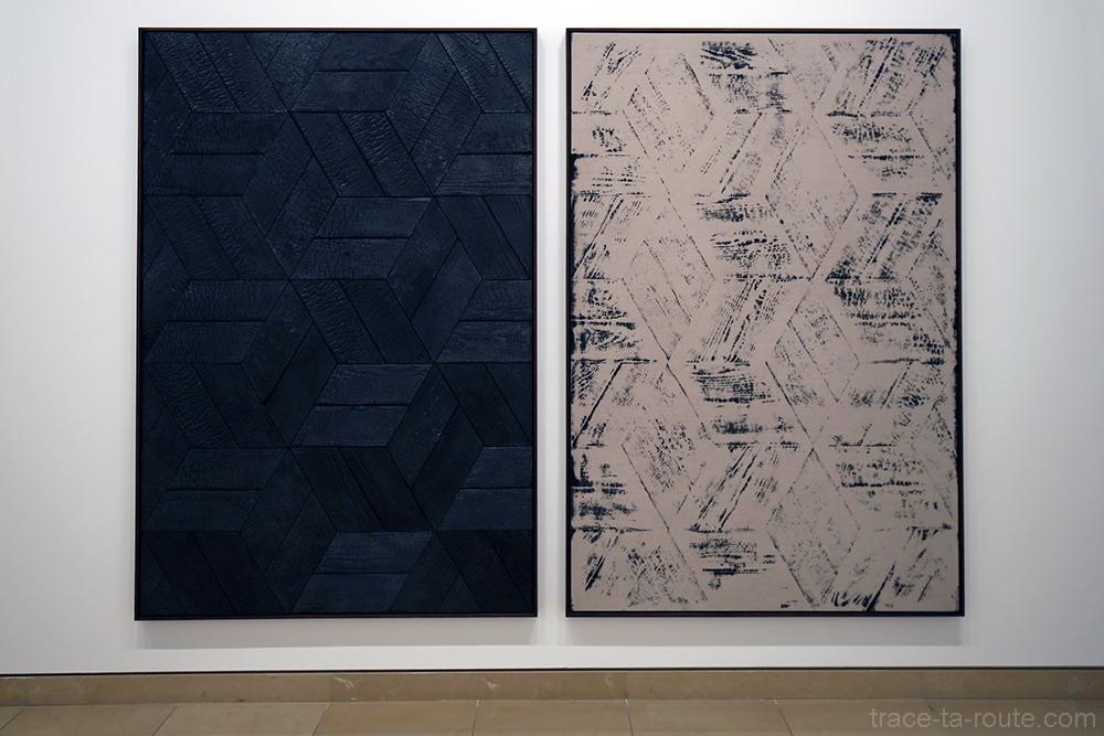 Burnt painting, Imprimt of the burnt painting (double cubes) (2013) Davide BALULA - Exposition Prix Marcel Duchamp 2015 Carré d'Art de Nîmes