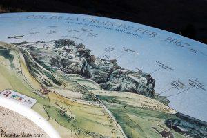 Panneau sommets des montagnes face au Col de la Croix de Fer : Aiguilles de l'Argentière etc... - Maurienne Savoie