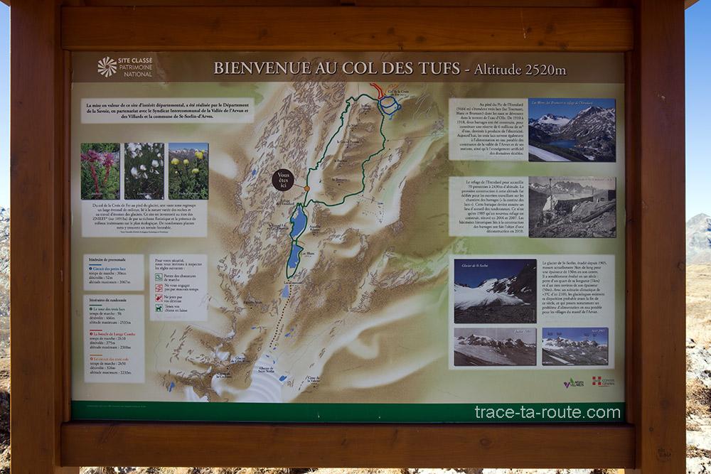 Carte itinéraires randonnées aux Lac Bramant et Lac Blanc depuis le Col de la Croix de Fer - Maurienne Savoie