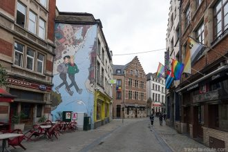 Fresque BD - Broussaille (Francj Pé) - Rue du Marché au Charbon / Rue Plattesteen, Bruxelles