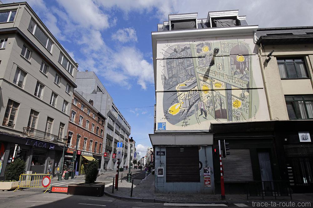 Fresque BD - Monsieur Jean (Dupuy-Berberian) - Rue des Bogards / Rue du Midi, Bruxelles
