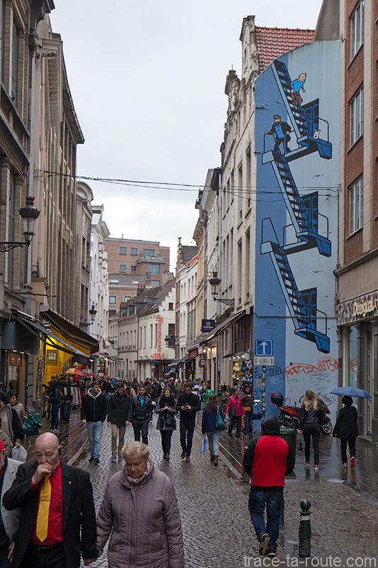 Fresque BD - Tintin (Hergé) - Rue de l'Étuve, Bruxelles