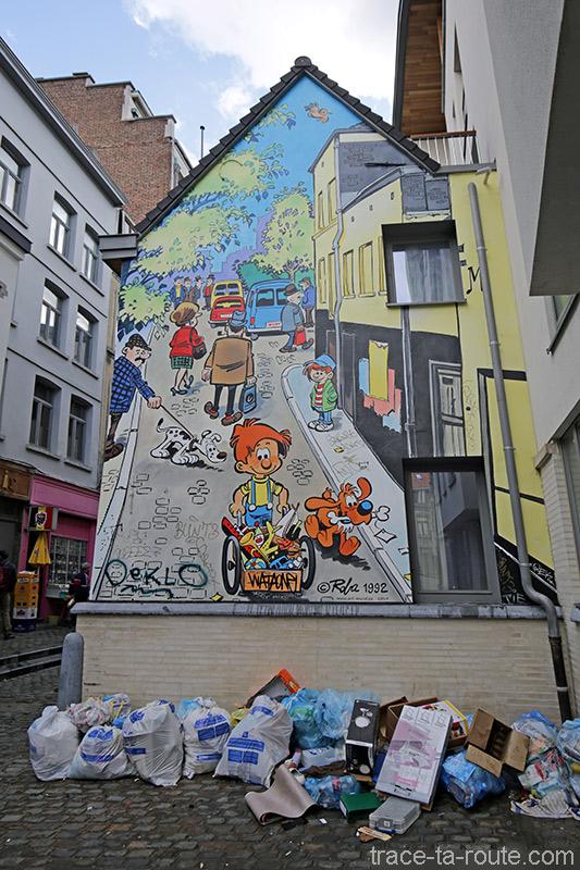 Fresque BD - Boule et Bill (Roba) - Rue des Chevreuil, Bruxelles