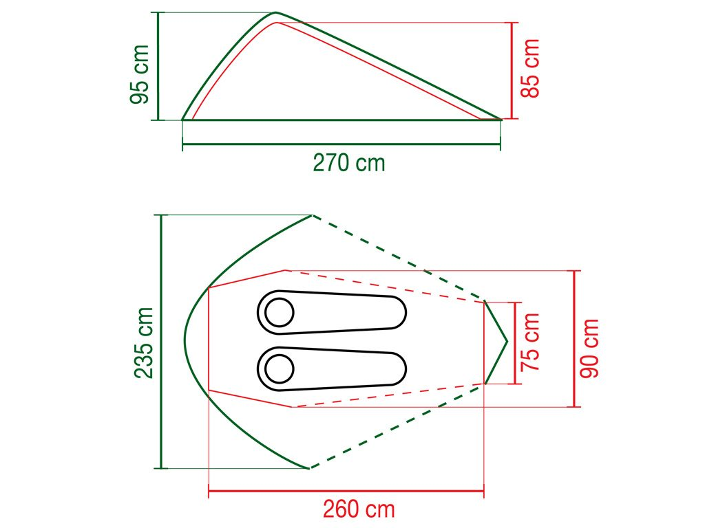 Plan des dimensions de la tente Coleman Aravis 2