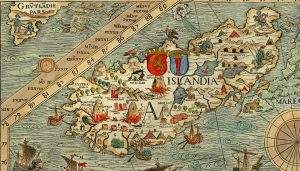Carte Marine d'Islande XVIe siècle (1539) par Olaus Magnus