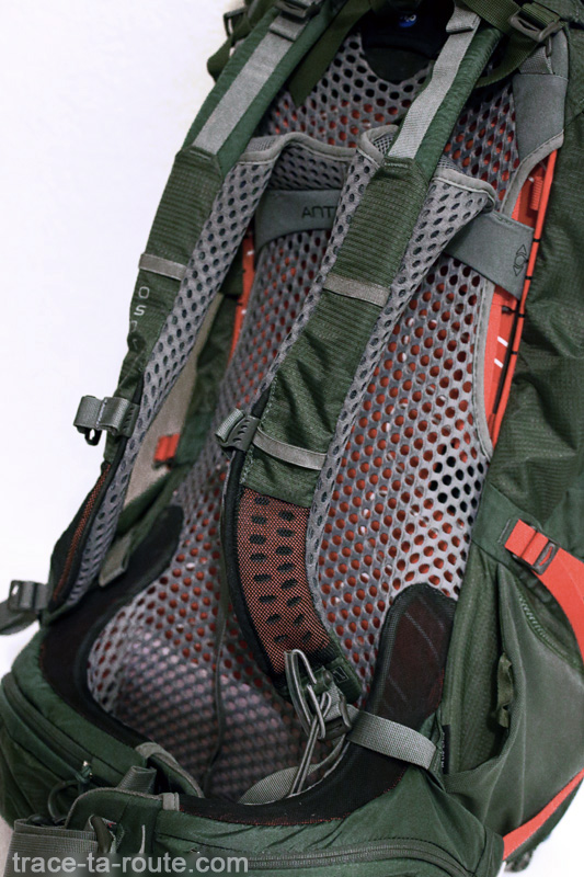 Test du sac à dos Osprey Atmos AG 65 : bretelles, ceinture et filet dorsal Anti-Gravity