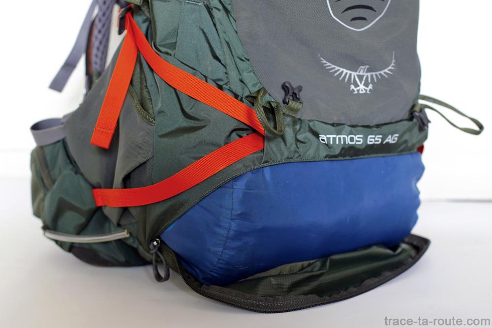 Test du sac à dos Osprey Atmos AG 65 : poche compartiment pour sac de couchage