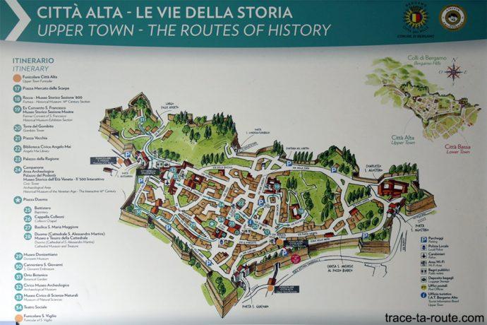 Carte Tourisme - Plan visite de la Ville Haute de Bergame (Città Altà Bergamo)