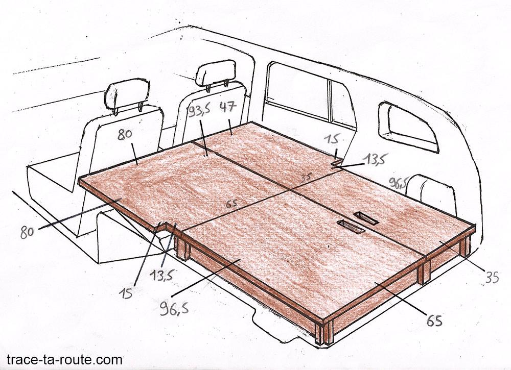 Plan structure aménagement break Dacia Logan MCV pour dormir dedans - Road Trip