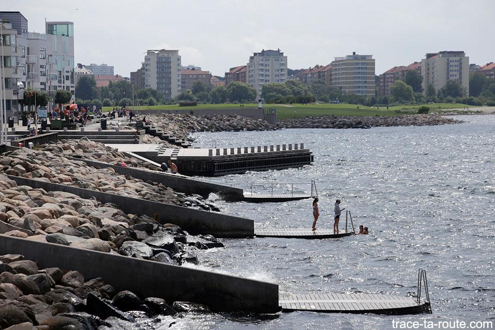 Les plages de Daniaparken à Västra Hamnen à Malmö en Suède