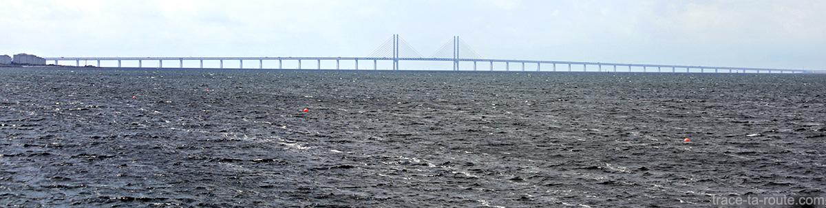 Pont Öresundsbron reliant la Suède au Danemark (Malmö-Copenhague) sur le détroit Öresund