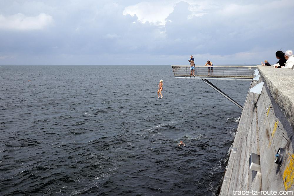 Öresund et saut dans la mer depuis le belvédère à Västra Hamnen à Malmö en Suède