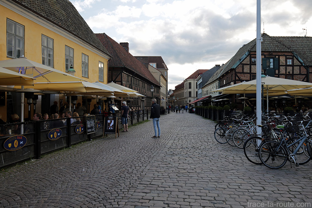 Terrasses de bars sur la Place Lilla Torg de Malmö en Suède