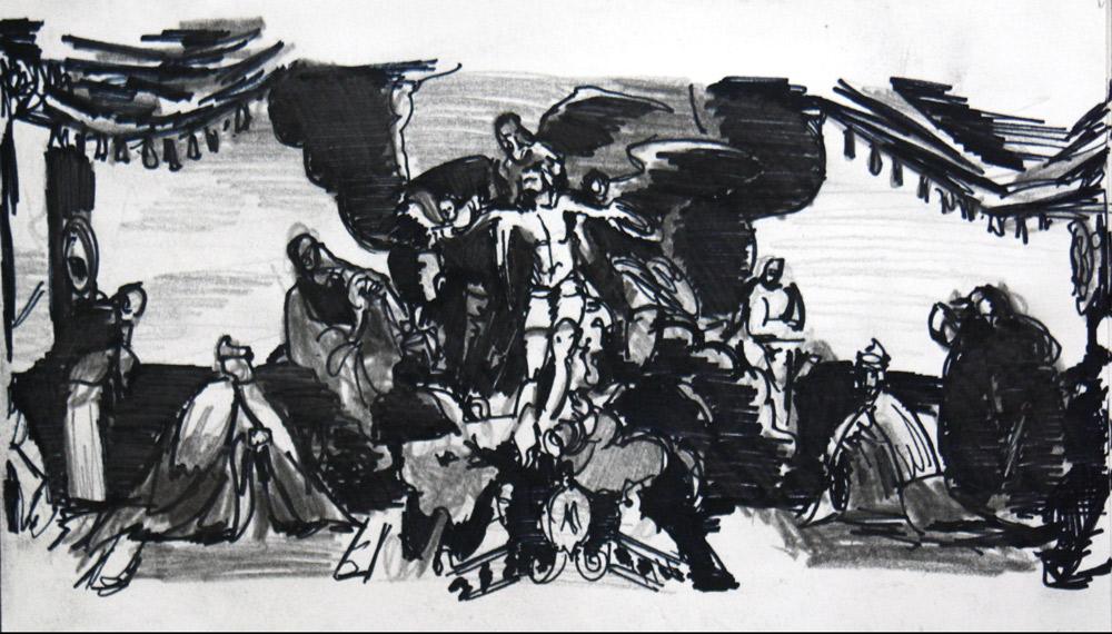 """Croquis de """"Le Christ adoré par les Doges Pietro Lando et Marcantonio Trevisan"""" (1590) TINTORET, au Palais des Doges de Venise © L'Oeil d'Édouard"""