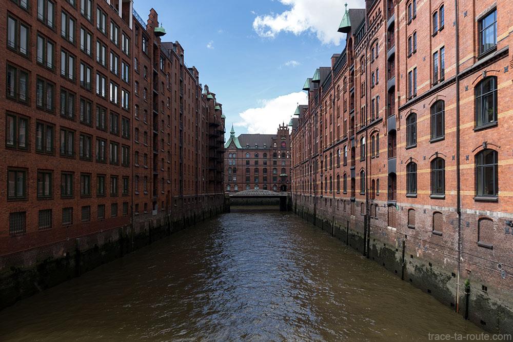 Canal Wandrahmsfleet, Speicherstadt à Hambourg, Allemagne