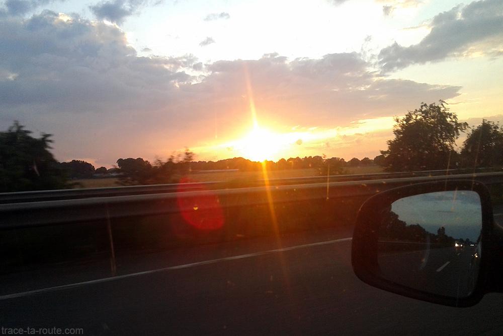 Coucher de soleil Route Road Trip Ruhr Allemagne