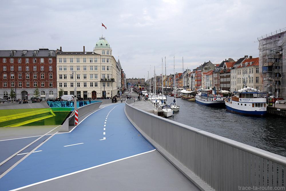 Inderhavnsbroen avec piste cyclable vers Nyhavn à Copenhague, Danemark - Christianshavn, Copenhagen